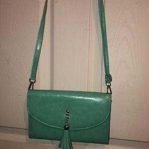 Mint green clutch/crossbody bag